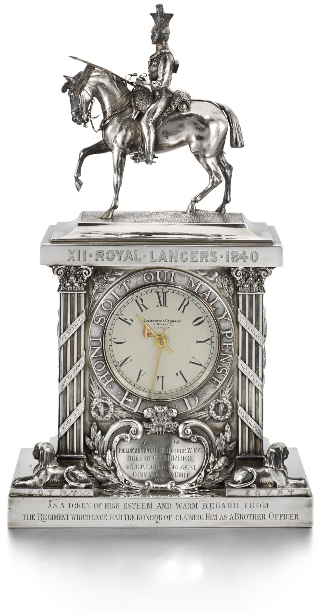 THE 12TH ROYAL LANCERS: A VICTORIAN SILVER-CASED TIMEPIECE, MAKER'S MARK OF WILLIAM GIBSON AND JOHN LAWRENCE LANGHAM TRADING AS THE GOLDSMITHS' & SILVERSMITHS' CO. AS RETAILERS, LONDON, 1890