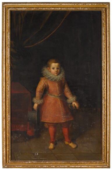 View 2. Thumbnail of Lot 109. Portrait of a boy, said to be Juan Luis de la Cerda, 5th Duke of Medinaceli (1544-94), full-length, holding a hat in his right hand.