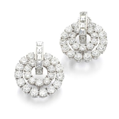 View 1. Thumbnail of Lot 1012. Pair of diamond ear clips.