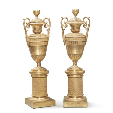 View 4. Thumbnail of Lot 102. A Pair of Restauration Gilt Bronze Vases, 19th Century.