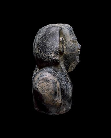 "View 3. Thumbnail of Lot 266. AN EGYPTIAN GNEISS (""CHEPHREN DIORITE"") BUST OF MYCERINUS, 4TH DYNASTY, REIGN OF MYCERINUS, CIRCA 2550-2530 B.C.."