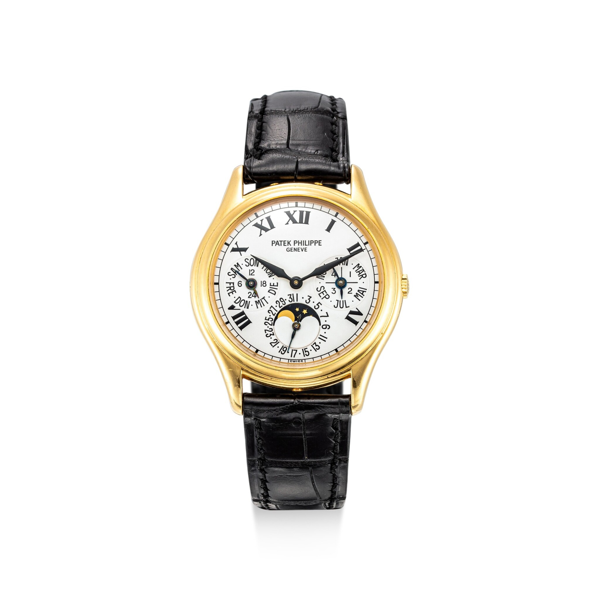 View full screen - View 1 of Lot 4001. PATEK PHILIPPE | REFERENCE 3940, A YELLOW GOLD PERPETUAL CALENDAR WRISTWATCH WITH MOON PHASES, 24 HOURS AND LEAP YEAR INDICATION, CIRCA 2005.