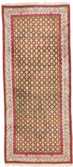 A SILK YARKHAND CARPET, EAST TURKESTAN