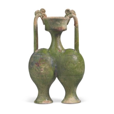 View 1. Thumbnail of Lot 216. A RARE GREEN-GLAZED CONJOINED AMPHORA, SUI DYNASTY   隋 綠釉雙龍柄聯腹傳瓶.