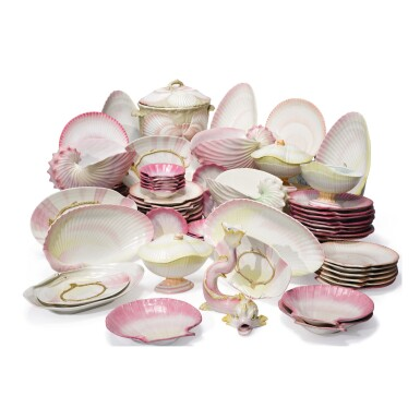 View 1. Thumbnail of Lot 493. AN EXTENSIVE ASSEMBLED WEDGWOOD 'WREATHED SHELL' PART-DESSERT SERVICE, CIRCA 1820 AND 1864-82.