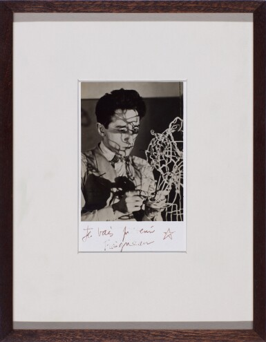 View 2. Thumbnail of Lot 64. MAN RAY | 'JEAN COCTEAU WITH SELF-PORTRAIT WIRE STRUCTURE', CA.1925.