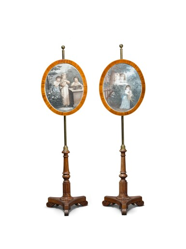 A PAIR OF GEORGE IV ROSEWOOD AND MAHOGANY POLE SCREENS, CIRCA 1820, ATTRIBUTED TO GILLOWS