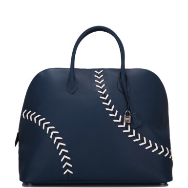 View 1. Thumbnail of Lot 17. Hermès Baseball Bolide 45cm in Bleu de Malte Evercolor Leather with Palladium Hardware.