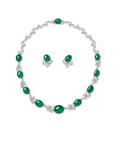 View 1. Thumbnail of Lot 1724. Jadeite and Diamond Demi-Parure | 天然翡翠 配 鑽石 項鏈及耳環套裝.