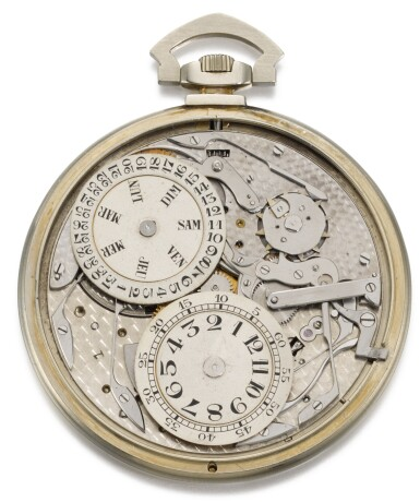 View 3. Thumbnail of Lot 73. BREGUET   [寶璣]    A VERY RARE, FINE AND SLIM WHITE GOLD OPEN-FACED KEYLESS LEVER JUMP HOUR WATCH WITH DIGITAL DISPLAY PERPETUAL CALENDAR  NO. 1116, SOLD TO MONSIEUR CORTLANDT BISHOP ON 7 MARCH 1927 FOR 24,000 FRANCS   [極罕有白金跳時懷錶備萬年曆數字顯示,編號1116,1927年3月7日以24,000法郎售出].