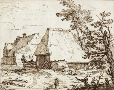 View 1. Thumbnail of Lot 42. View of Thatched Farm Buildings, with a farmer and his Dog in the Foreground.