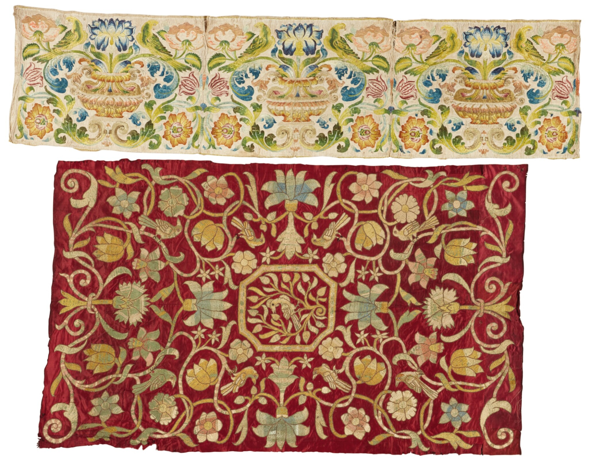 View full screen - View 1 of Lot 250. TWO EMBROIDERED FLORAL SILK PANELS, ITALIAN OR SPANISH, 17TH CENTURY.