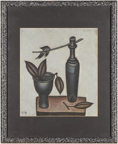 View 2. Thumbnail of Lot 31. Still Life with Bottle and Vase.