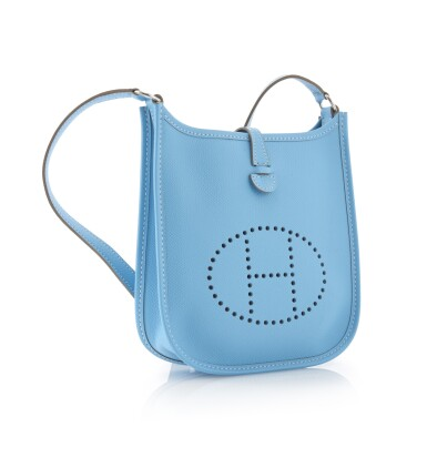 Light blue leather and palladium hardware, Evelyne PM 16, Hermès, 2012