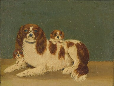 View 2. Thumbnail of Lot 90. ENGLISH SCHOOL, 19TH CENTURY   CAVALIER KING CHARLES SPANIELS WITH PUPPIES: A PAIR OF PAINTINGS.