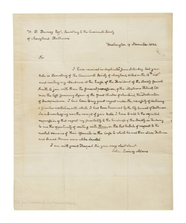 """View 1. Thumbnail of Lot 49. Adams, John Quincy 