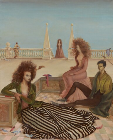 View 1. Thumbnail of Lot 1002. LEONOR FINI | FIGURES ON A TERRACE (COMPOSITION WITH FIGURES ON A TERRACE; LA TERRASSE).