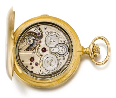 View 3. Thumbnail of Lot 91. GIRARD-PERREGAUX, CHAUX-DE-FONDS [芝柏,拉紹德封] | A GOLD AND DIAMOND SET HUNTING CASED KEYLESS LEVER MINUTE REPEATING GRANDE SONNERIE CLOCK WATCH, THE COVER WITH A BALD EAGLE CIRCA 1900, NO. 323445 [黃金鑲鑽石三問大自鳴懷錶,錶蓋飾白頭鷹,年份約1900,編號323445].