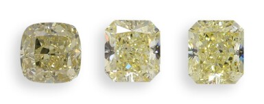 A Group of Three Fancy Yellow Diamonds Each Weighing 2.01 Carats