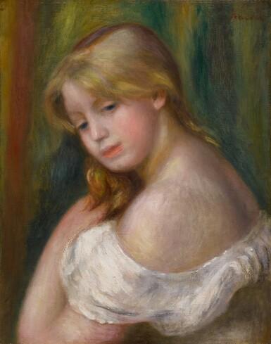 View 1. Thumbnail of Lot 9. Buste de jeune femme à l'épaule nue (Jeune fille à sa toilette).