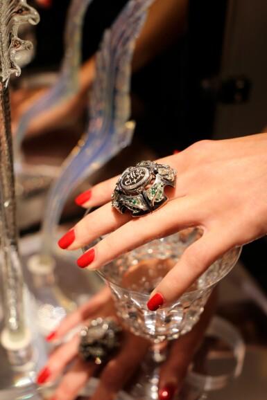 View 6. Thumbnail of Lot 8. Elie Top, Gem-Set, Diamond And Chalcedony Ring [Bague Diamants, Pierres De Couleur Et Calcédoine], 'Air De Printemps'.