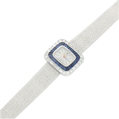 View 6. Thumbnail of Lot 98. REFERENCE 3655A6 A LADY'S WHITE GOLD BRACELET WATCH WITH DIAMOND AND SAPPHIRE-SET BEZEL, CIRCA 1970.