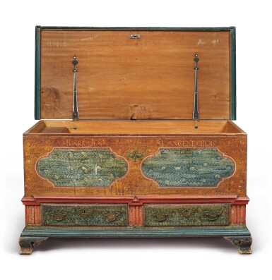 View 3. Thumbnail of Lot 356. Federal Polychrome Paint-Decorated Poplar Blanket Chest with Two Drawers, Lancaster County, Pennsylvania, Circa 1780.