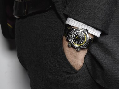 JAEGER-LECOULTRE   MASTER COMPRESSOR EXTREME W-ALARM 46 VALENTINO ROSSI REFERENCE 150.T.42 A LIMITED EDITION TITANIUM AUTOMATIC WORLD TIME WRISTWATCH WITH ALARM AND DATE CIRCA 2010