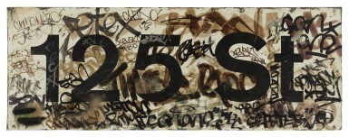 VINTAGE 125TH STREET MTA SUBWAY STATION PLATFORM SIGN W/GRAFFITI FROM LOCAL HARLEM WRITERS, 1980-85