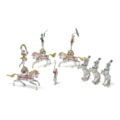 HORSES: A GROUP OF SILVER AND ENAMEL CIRCUS FIGURES, DESIGNED BY GENE MOORE FOR TIFFANY & CO., NEW YORK, CIRCA 1990