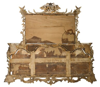 View 3. Thumbnail of Lot 68. A George II carved giltwood overmantel mirror, circa 1755-60.