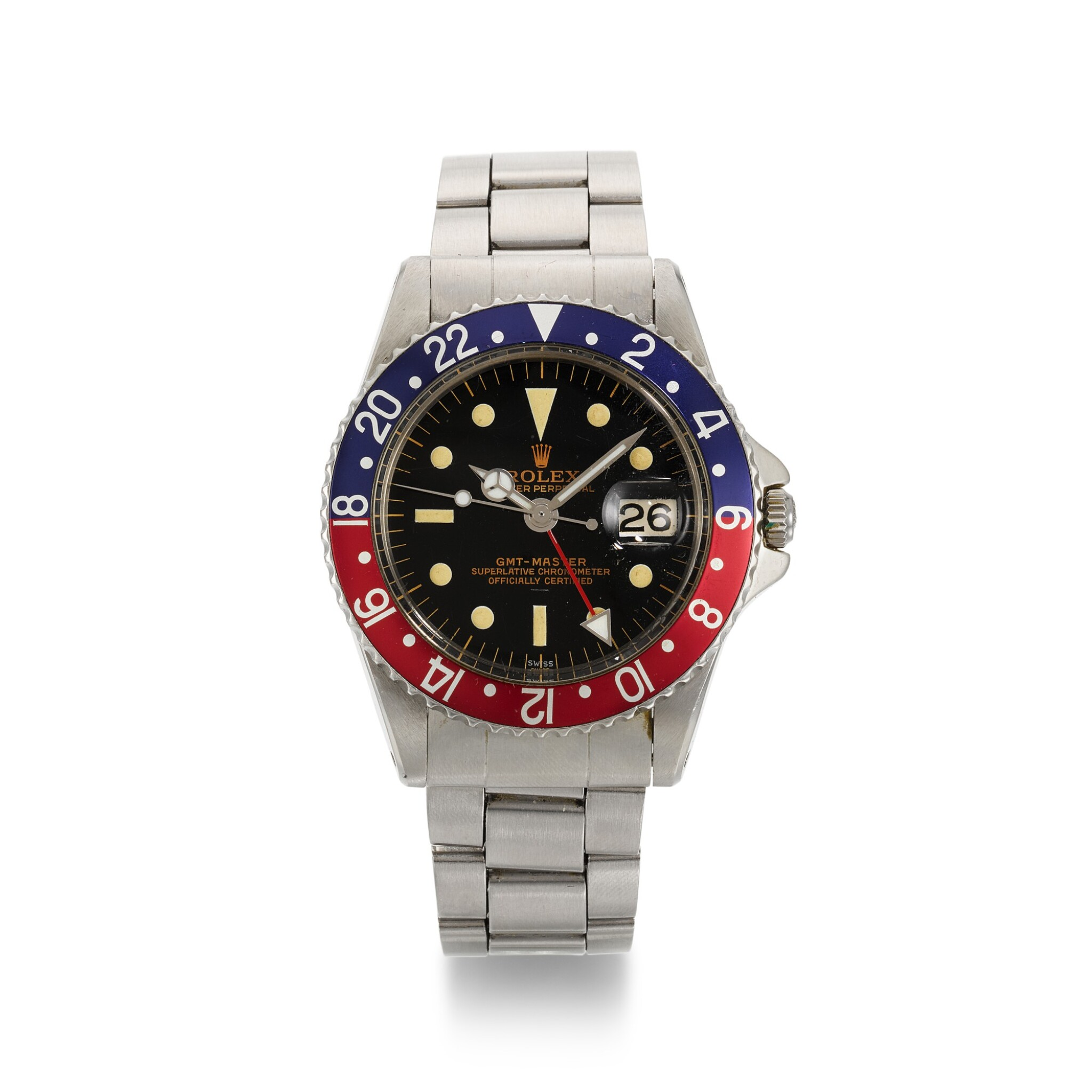 View full screen - View 1 of Lot 338. ROLEX | GMT-MASTER POINTED CROWN GUARDS, UNDERLINE, DOUBLE SWISS, REF 1675, STAINLESS STEEL DUAL-TIME WRISTWATCH WITH DATE AND BRACELET, CIRCA 1963.
