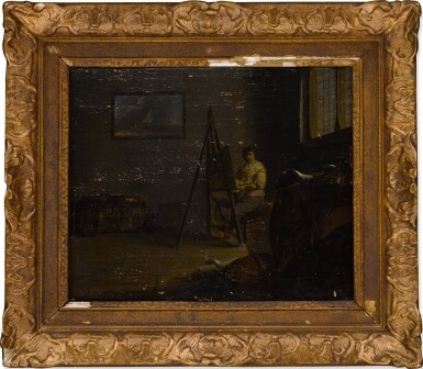 View 3. Thumbnail of Lot 24. An interior with an artist at his easel .