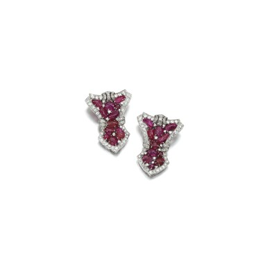 View 1. Thumbnail of Lot 18. PAIR OF RUBY AND DIAMOND DRESS CLIPS, 1930S.