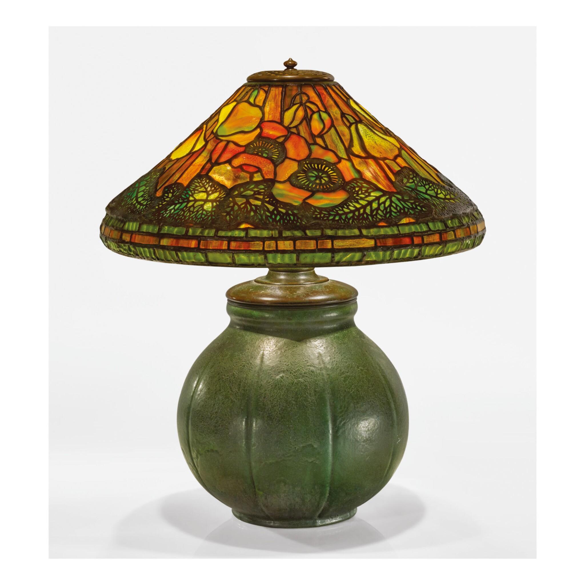 """View 1 of Lot 26. TIFFANY STUDIOS AND GRUEBY FAIENCE COMPANY   """"POPPY"""" TABLE LAMP."""