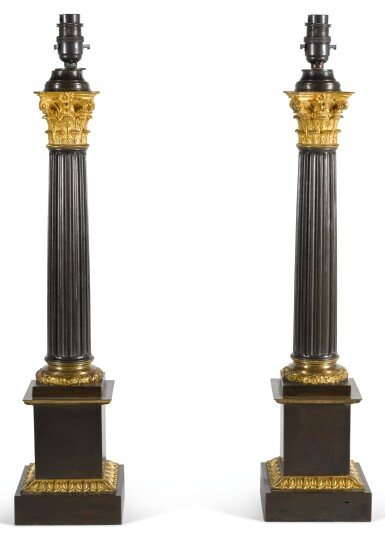 A PAIR OF GILT AND PATINATED BRONZE COLUMNAR LAMP BASES, 20TH CENTURY