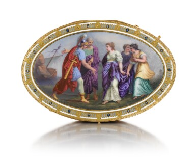 View 6. Thumbnail of Lot 15. A GOLD AND ENAMEL SNUFF BOX WITH MUSIC AND AUTOMATON, GUIDON, RÉMOND, GIDE, GENEVA, 1792-1801.