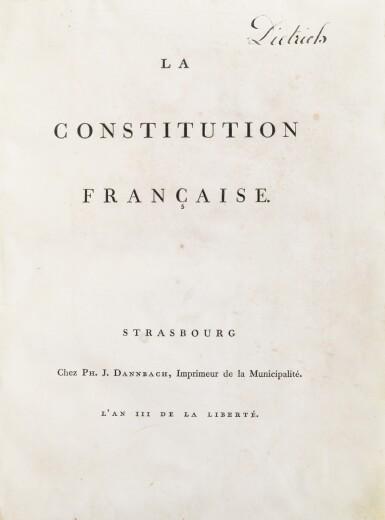 View 1. Thumbnail of Lot 10. La Constitution française. Strasbourg, [1791]. In-4. Exemplaire du baron de Dietrich, premier maire de Strasbourg..