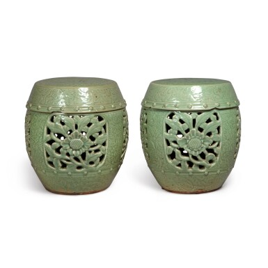 View 1. Thumbnail of Lot 90. A pair of pierced and carved 'Longquan' celadon-glazed garden seats, Ming dynasty | 明 龍泉窰青釉開光鏤空花卉紋坐墩一對.