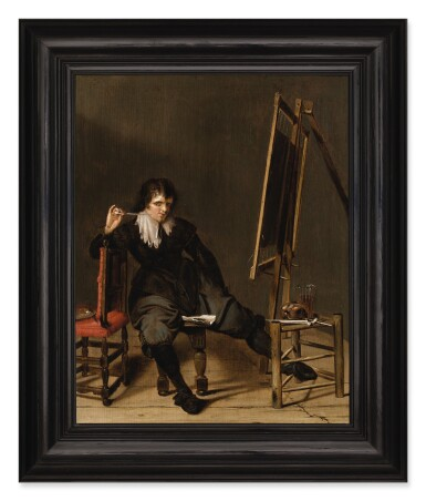 View 3. Thumbnail of Lot 23. An artist in his studio, seated on a stool, in front of an easel, with a pipe raised to his mouth.