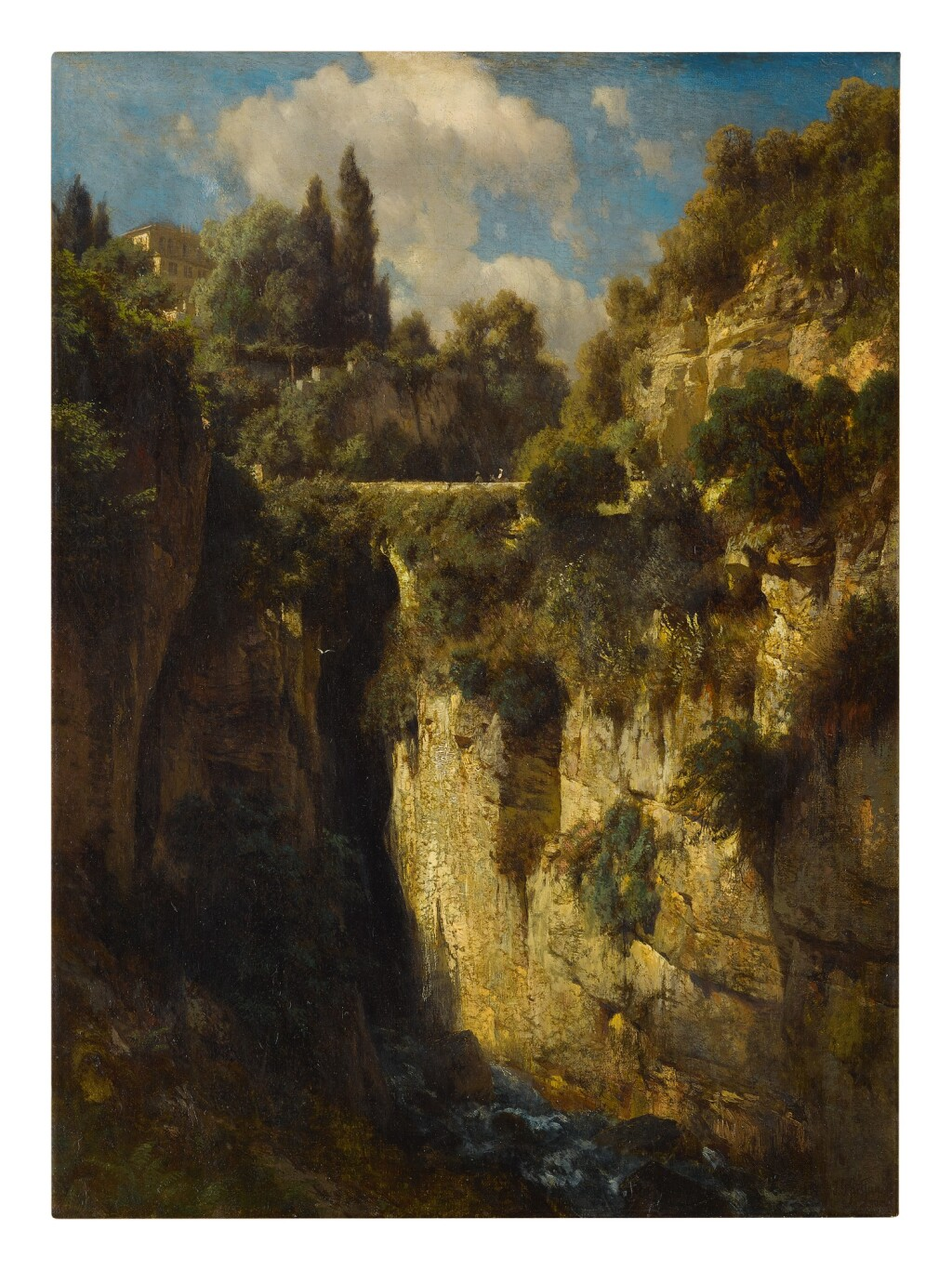 JOHANN GOTTFRIED STEFFAN   A MOUNTAINOUS LANDSCAPE WITH A WATERFALL