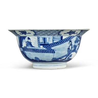 View 1. Thumbnail of Lot 34. A blue and white 'figural' bowl, Qing dynasty, Kangxi period.