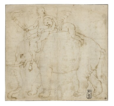 View 1. Thumbnail of Lot 13. Two Putti on the Back of an Elephant, Study for a Stucco Medallion in the West Lunette on the Vault of the Camera delle Aquile, Palazzo Te.