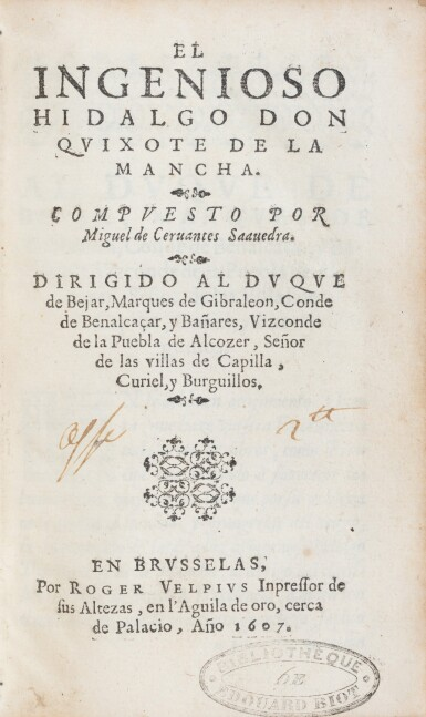 View 2. Thumbnail of Lot 15. El ingenioso hidalgo Don Quixote de la Mancha. Bruxelles, 1607. 1re éd. bruxelloise. Vélin époque.
