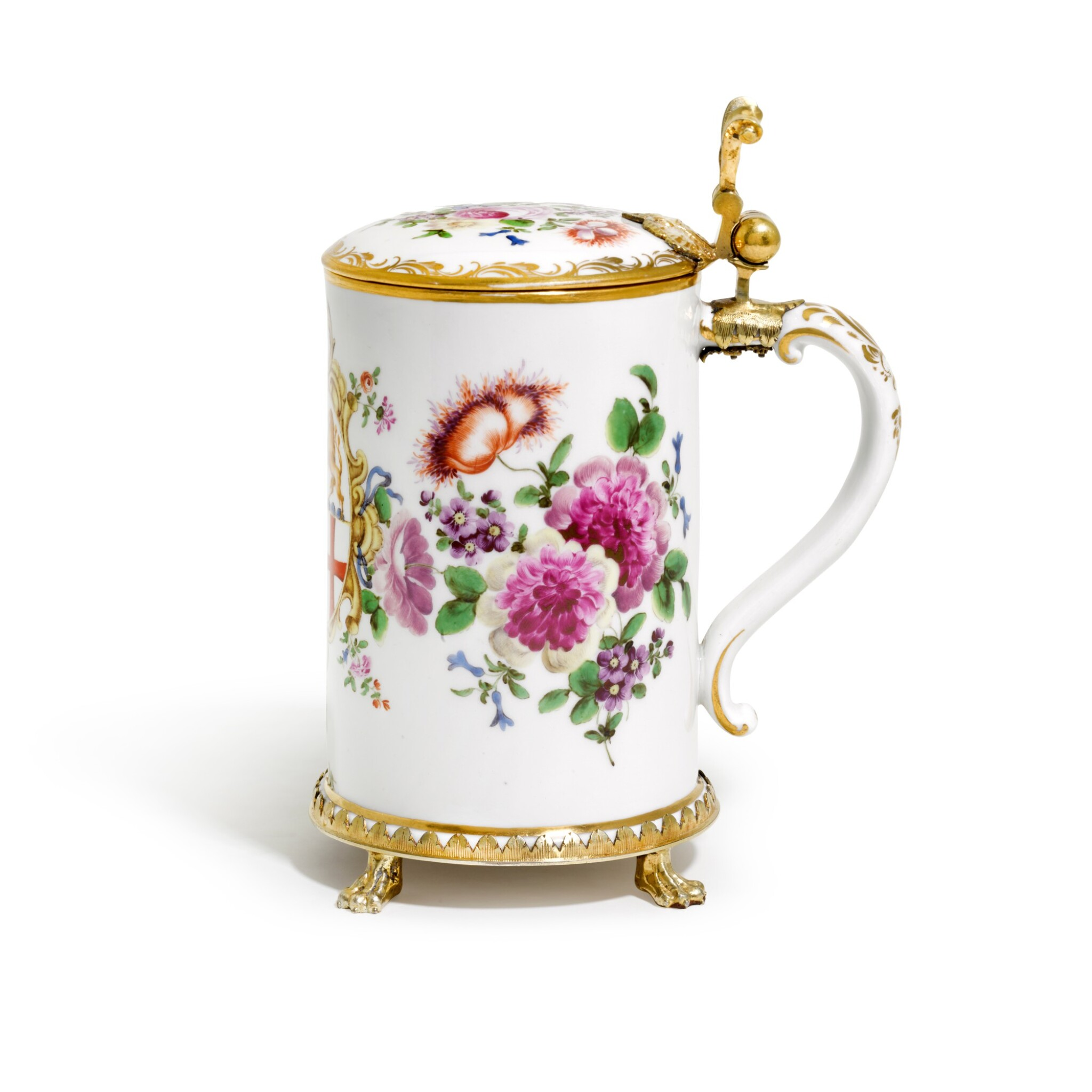View full screen - View 1 of Lot 15. AN AUSTRIAN PORCELAIN TANKARD AND COVER, WITH GERMAN SILVER GILT MOUNT, MOST PROBABLY JOHANN BAPTISTE SEITZ, CONSTANCE, CIRCA 1760.