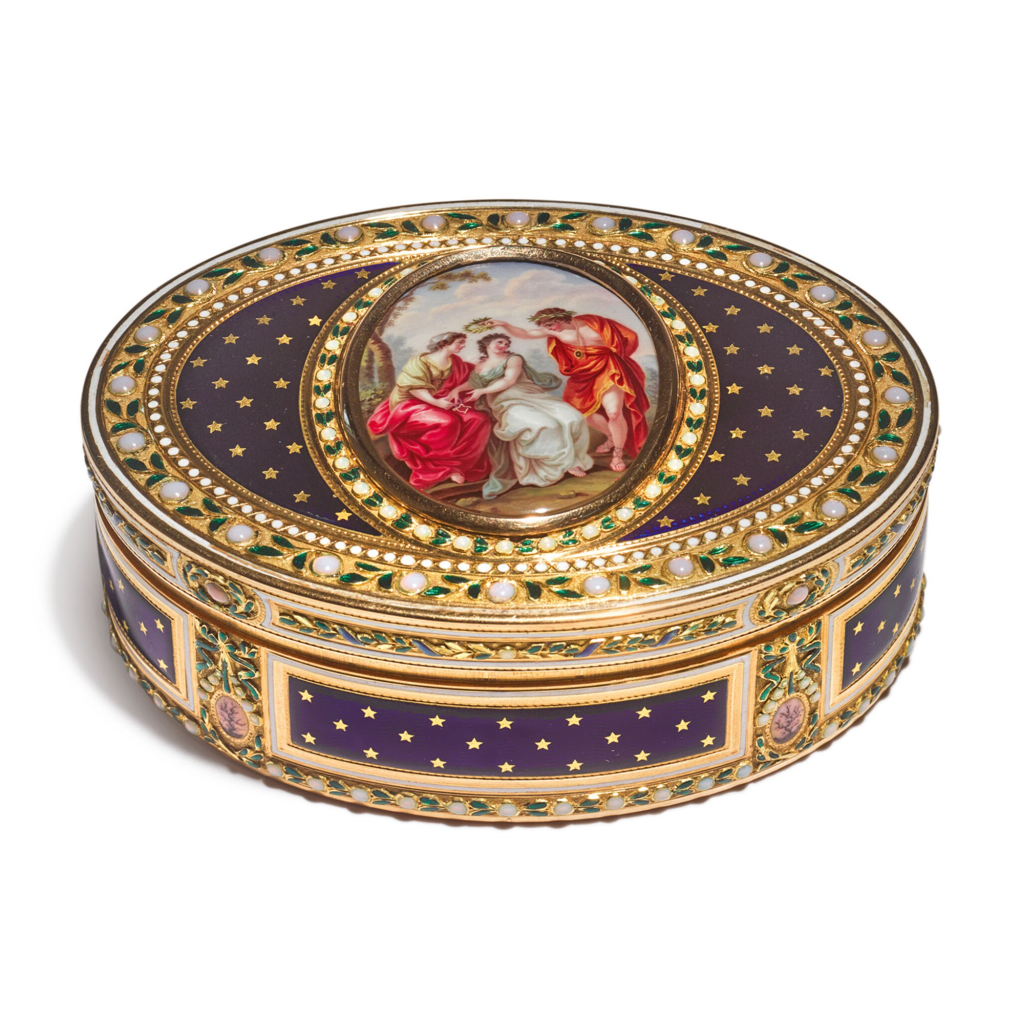A LOUIS XVI ENAMELED GOLD OVAL SNUFF BOX, JOSEPH-ÉTIENNE BLERZY, PARIS, 1784