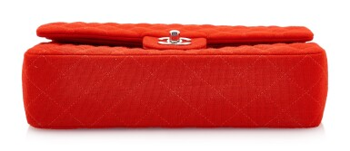 View 3. Thumbnail of Lot 150. RED JERSEY AND SILVER-TONE METAL CLASSIC SHOULDER BAG, CHANEL.