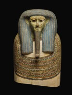 THE UPPER PART OF AN EGYPTIAN POLYCHROME WOOD COFFIN LID, 25TH/EARLY 26 DYNASTY, CIRCA 750-600 B.C.