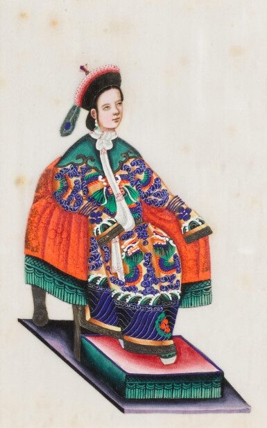 View 26. Thumbnail of Lot 163. A set of fourteen Chinese paintings on silk, Canton, 19th century.