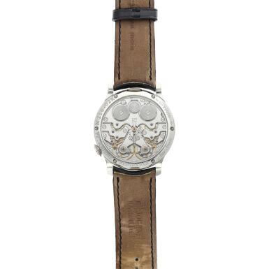 View 6. Thumbnail of Lot 422. Chronomètre à Résonance  A platinum dual time wristwatch with power reserve indication and brass movement, Circa 2002 .